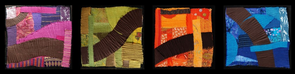 "Cotton, silk, and thread on wool, 2008.  Each panel 12"" x12"","